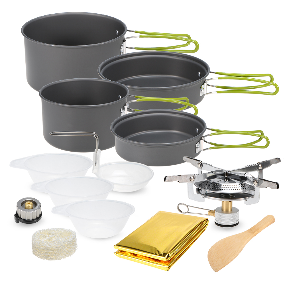 Lightweight Aluminum Outdoor Stove Pot Pan Plastic Bowel Outdoor Cookware Set for Backpacking Camping Picnic 1-2 People dispensador de cereal peru