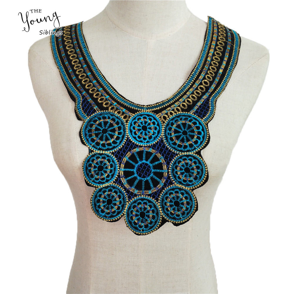 BLUE  Scoop Neck Large Acrylic Beads Collar Applique