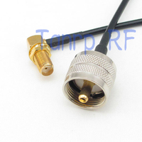 10pcs 8in UHF male PL259 to SMA female right angle RF connector adapter 20CM Pigtail coaxial jumper cable RG174 extension cord