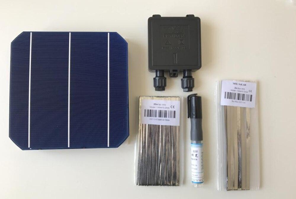 115 w diy kit carregador de painel solar 25 pces monocrystall célula solar 6x6 com 20 m fio de tabbagem 2 m ônibus e 1 caneta de fluxo 1 junbox