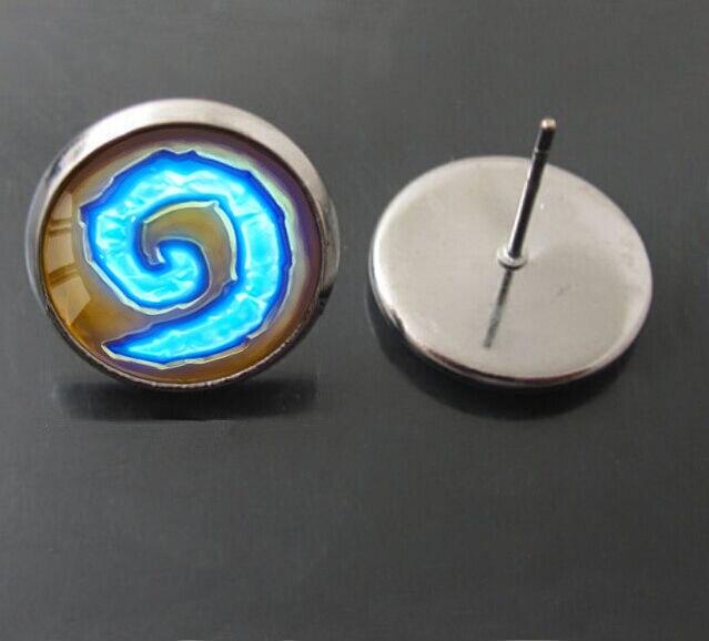 2015 WoW World of Warcraft Hearthstone Glass Stud earring blue Earrings for women girls Christmas gift earring movie jewelry 141