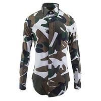 Digitale Printing Camouflage Shirts Hoge kwaliteit 100% katoen Slim fit casual shirts Lange mouw Herfst mode mannen Clothings