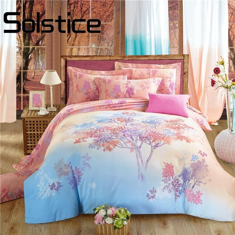 Solstice Home Textile 2018 Very Warm Sanding Floral Trees Printed Thick Sanding Cotton Bedlinens Duvet Cover Set Pillow Cases 30Solstice Home Textile 2018 Very Warm Sanding Floral Trees Printed Thick Sanding Cotton Bedlinens Duvet Cover Set Pillow Cases 30
