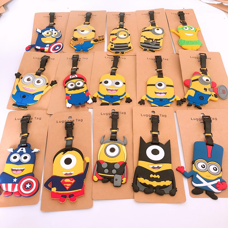 Cartoon Minions PVC keychain cosplay captain america Thor Super Mario luggage boarding pass travel baggage hanging ornaments bag
