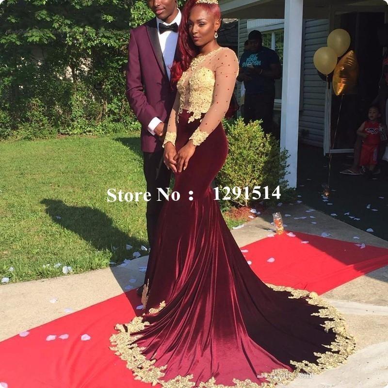 Burgundy Velvet Prom Dresses For African Black Skin Girls -6974