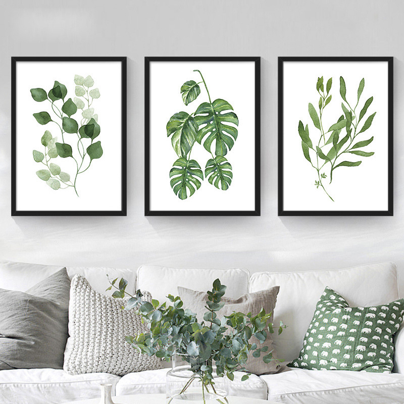 No frame tropical plants leaves wall painting nordic for Decorative mural painting