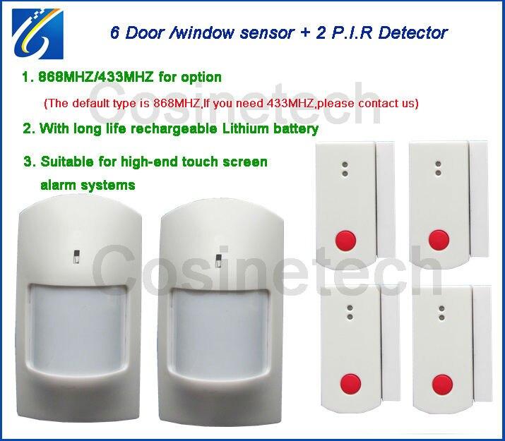 Aimant de porte de 868 MHZ, détecteur de PIR pour le système d'alarme de 868 MHZ, capteur de porte/fenêtre de 433 MHZ, capteur infrarouge de mouvement de PIR pour le système d'alarme