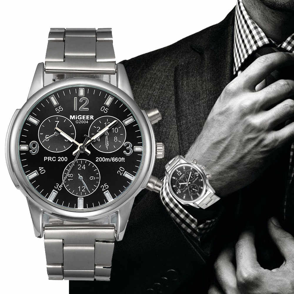 (Free For RU/ES) MiGEER Luxury Watch Men Top Brand 3 Eyes Man Crystal Stainless Steel Analog Quartz WristWatch Good Montre #BL5
