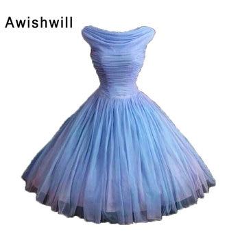 Vintage Short Prom Dresses 2020 Cap Sleeve Tulle Ball Gown Evening Party Dress Custom Made Vestido De Fiesta Curto Cheap