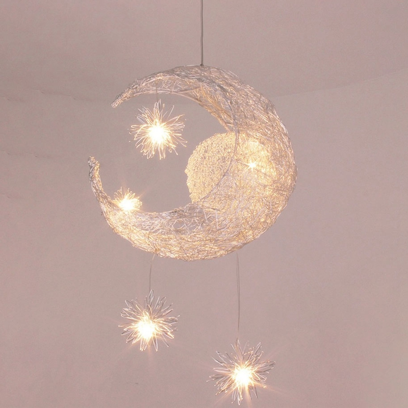 Modern Moon Star Pendant Light Christmas Decorations Creative Personality Children Bedroom Aluminum for Home Fixture LightingModern Moon Star Pendant Light Christmas Decorations Creative Personality Children Bedroom Aluminum for Home Fixture Lighting