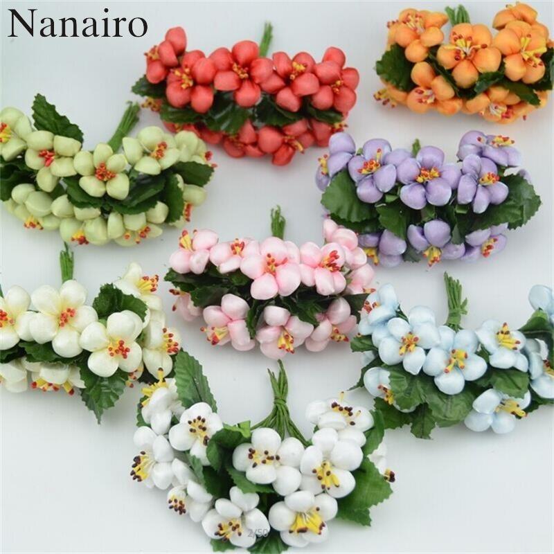 10 шт./лот, искусственные шелковые мини-цветы для скрапбукинга, цветы персикового цвета, свадебные украшения