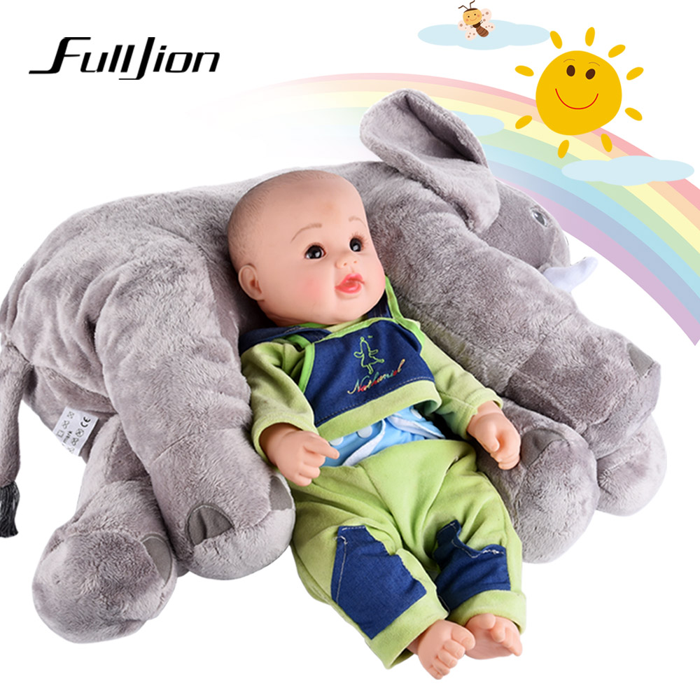 Fulljion Baby Stuffed Plush Animals Elephant Toys For Children Kawaii Dolls Infant Sleeping Back Cushion Stuffed Pillow Gifts baby dolls for girls stuffed plush toys mini smiley cushions cushion brick macaquinho soft plush toys model cotton 703688