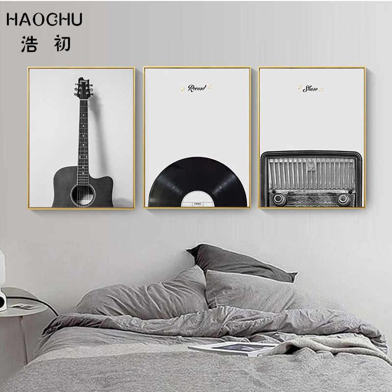 HAOCHU Black And White Guitar Record CD Art Print Retro Painting Wall Decor Picture Wall Sticker Canvas Painting For Cafe Decor