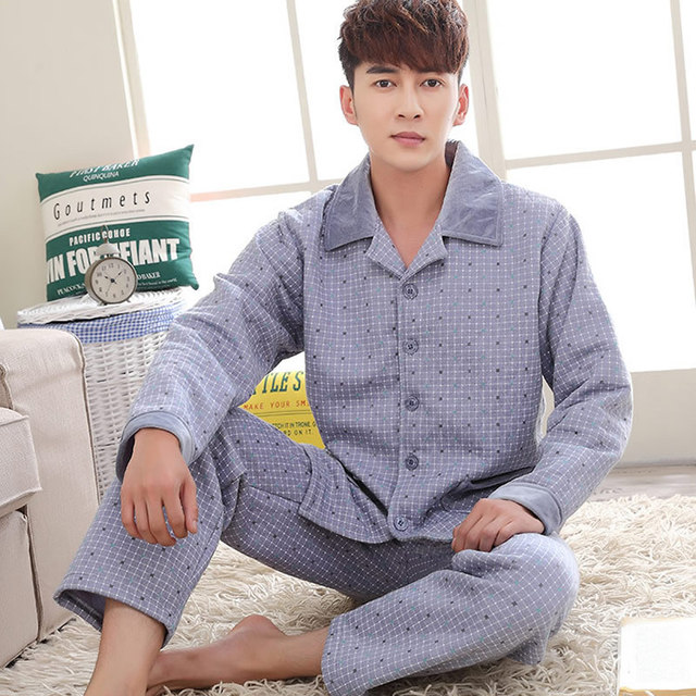 pijama hombre Cotton Men Winter Pajamas Set plaid  pijamas masculinos men's pajama pijama seda para hombre L XL XXL xxxl sets