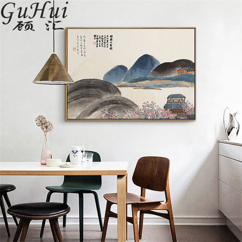 Chinese The four Seasons Mountains And Rivers Landscape Canvas Painting Wall Pictures Living Room Decoration Wall Art Posters