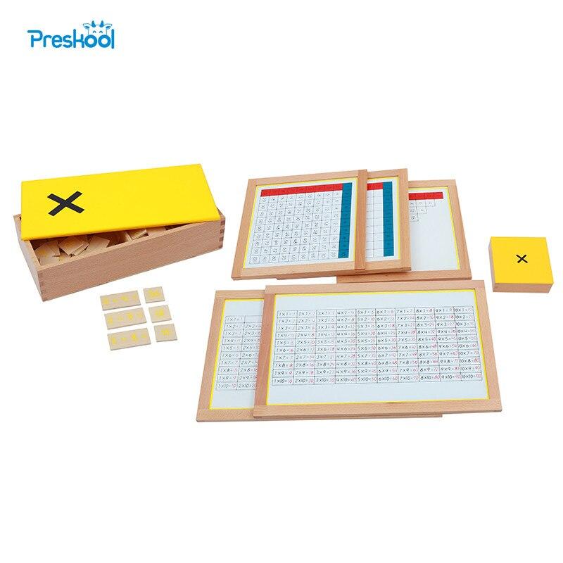 Montessori enfants jouet bébé bois Multiplication graphiques de travail boîte d'équations multipliques éducation préscolaire Brinquedos Juguets