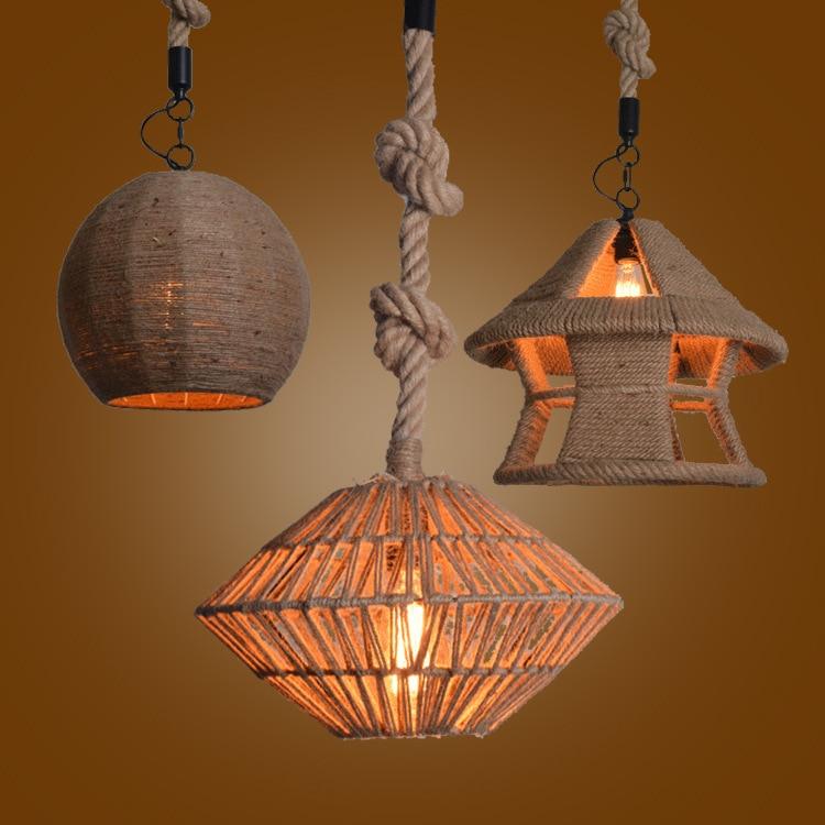 Vintage Hemp Rope Pendant Light LED Edison Bulb Lamp Loft Industrial For Living Room abajour American rustic living room in Pendant Lights from Lights Lighting