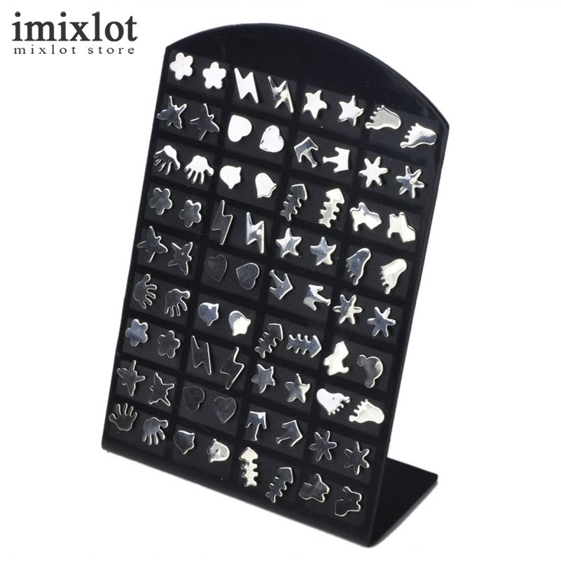 36 Pairs/Card Mens Earring Set Silver Color Hand Star Heart Flower Mixed Stainless Steel Stud Earrings Set for Women ...