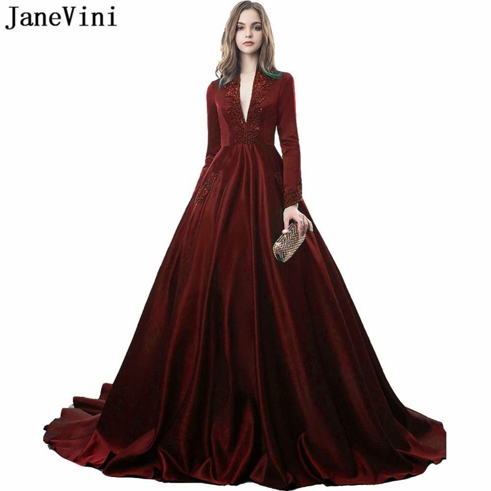 US $151.53 54% OFF|JaneVini A Line Burgundy Evening Dress Long Sleeves V  Neck Heavy Beading Plus Size Gown Satin Dubai Formal Dresses Gala Jurken-in  ...
