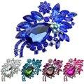Women Teardrop Flower Rhinestone Brooch Pin Broach Banquet Badge Breastpin