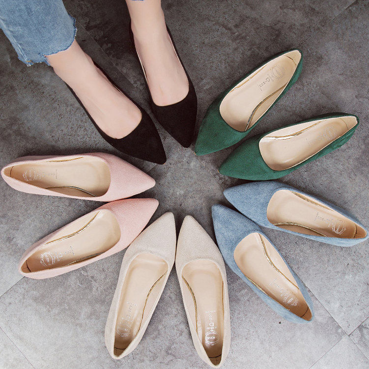 Slip-On Shoes Rubber Woman Flats Ballet Suede Pointed-Toe Plus-Size Fashion High-Quality