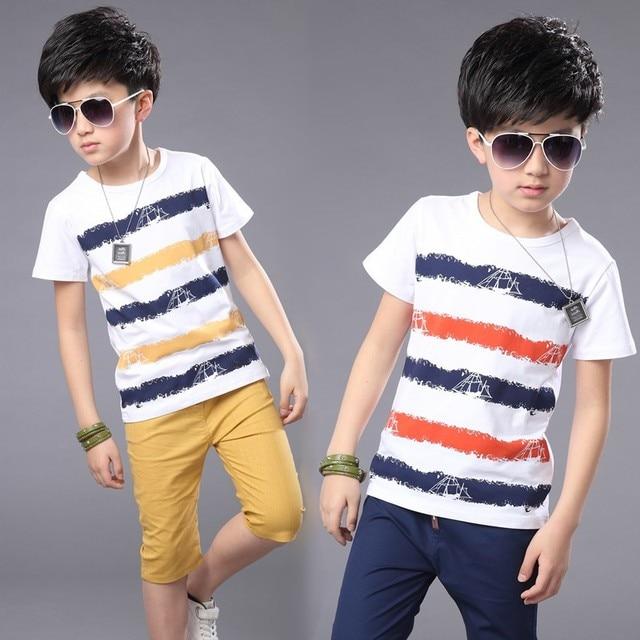 fashion Children Boys Clothing Sets Summer Striped Cotton T-Shirt +Linen  Shorts kids Sports Suits 4-14years free shipping 9d0db48ea5cf