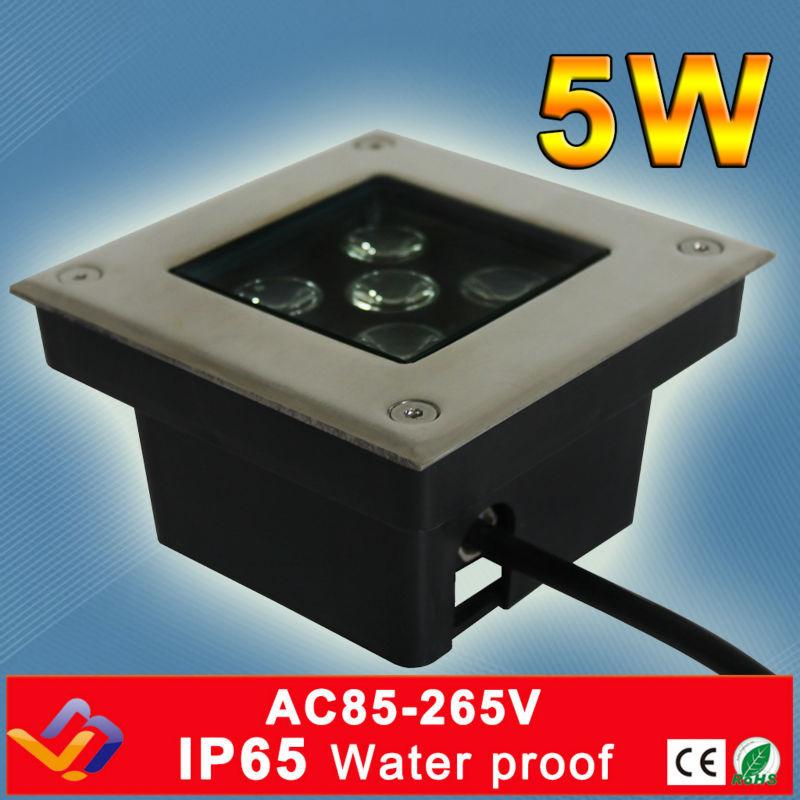 5 * 1W négyzetméteres földalatti lámpa Stage Garden Light Outdoor Buried padló lámpa Vízálló rozsdamentes acél földalatti lámpa