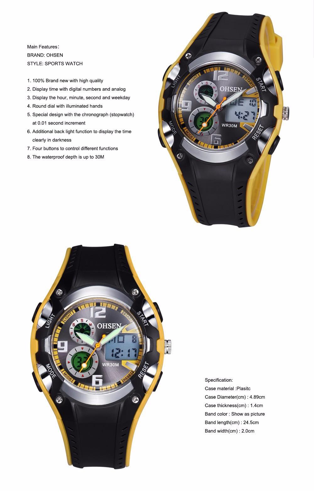 Original Ohsen Brand Fashion Sports Men's Watches 30M Waterproof Rubber Black Rubber Band Digital Sport Wristwatch for Men Gift (15)