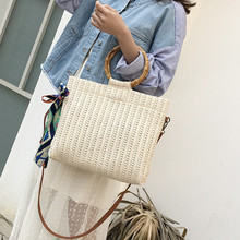 2019 Summer Straw Silk Scarf Knitted Shoulder Bag Beach Tote Bags for Women Handbag Bow Ladies Hand Bags Luxury Bag Bolsa Female все цены