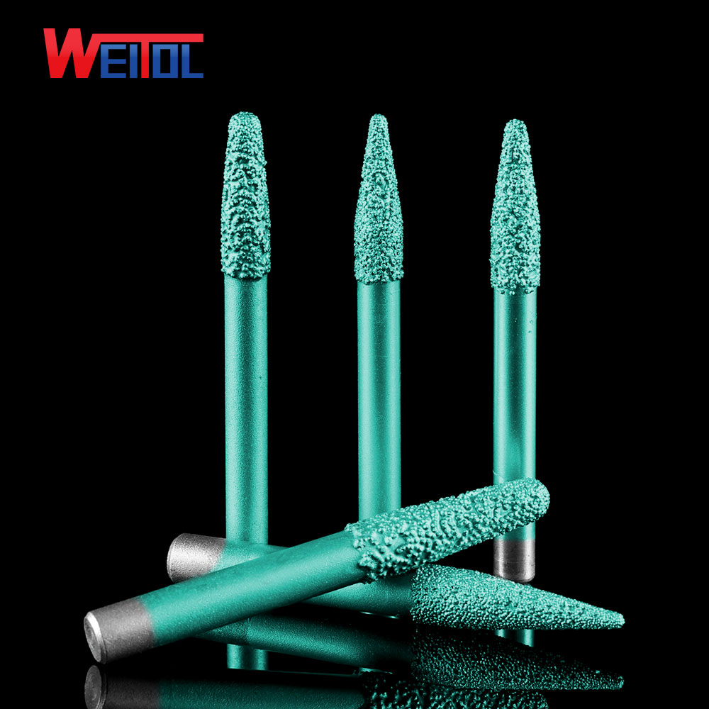 Weitol free shipping 6/8/10mm shank shipping Brazing stone engraving bits marble carving tools CNC router bits for granite|stone engraving bits|cnc router bits|engraving bits - title=