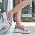 Sandálias cunhas sapatos para as mulheres 2016 quente nova malha respirável sapatos de cabeça de Peixe sandálias mulher