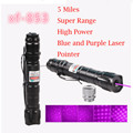 High Power 1mW Blue Purple Laser Pointer Burning Light Beam Pen Battery Charger