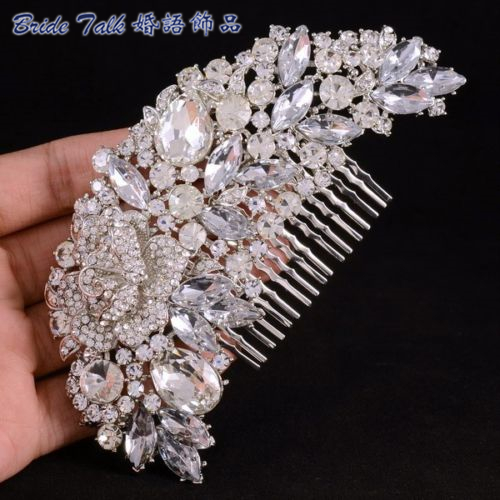 Fashion Bridal Hair Accessories Wedding Hair Comb Rhinestone Crystal Rose Flower Hair Comb Bridesmaid Jewelry 4058