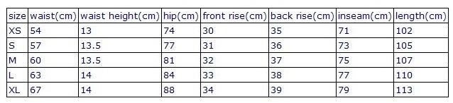 size chart for high waist leggings -5 sizes