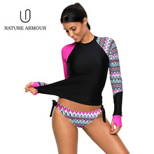 NATURE ARMOUR Bathing Suits 2018 Women Body Suits Long sleeve one piece swimwear Plus Size Bathing Suits sexy swimsuit mujer