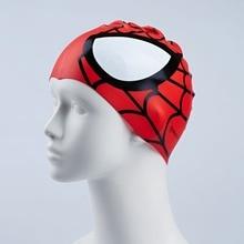 69209dc2057fd Caliente silicona gorro de natación niños elástico de dibujos animados  spiderman imprimir rojo azul deporte