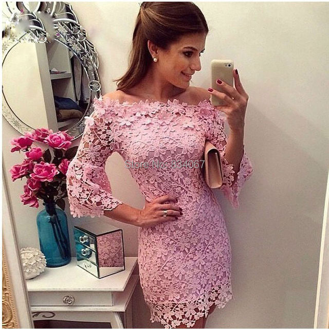 Beautiful Lace Adorable Pink Sheath Party Dress 2017 Mini Length Cocktail Dress with Three Quarter Sleeves Formal Gown Fashion