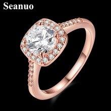 Seanuo цирконий изысканный розовое cz обручальное золото кристалл лето нержавеющей кольцо