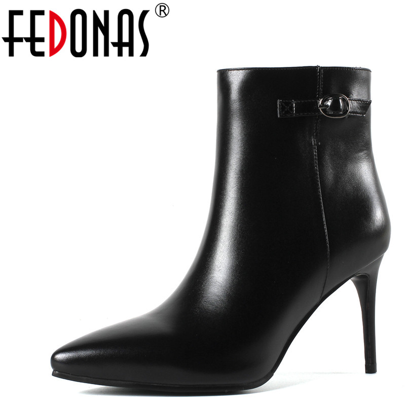 FEDONAS 1Fashion Women Ankle Boots Autumn Winter Warm High Heels Shoes Woman Genuine Leather Pointed Toe Elegant Basic Boots 2018 new arrival genuine leather zipper runway autumn winter boots round toe high heels keep warm elegant women ankle boots l29