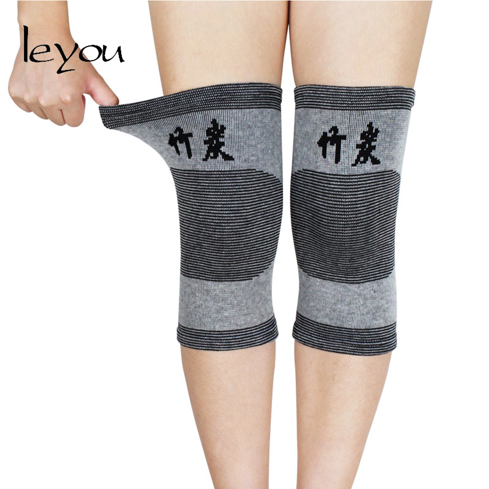 Leyou Knee Sleeves Compression Knee Pads Basketball And Dance Elastic Knee Pads Sports Knee Protector Bamboo Charcoal Kneecap