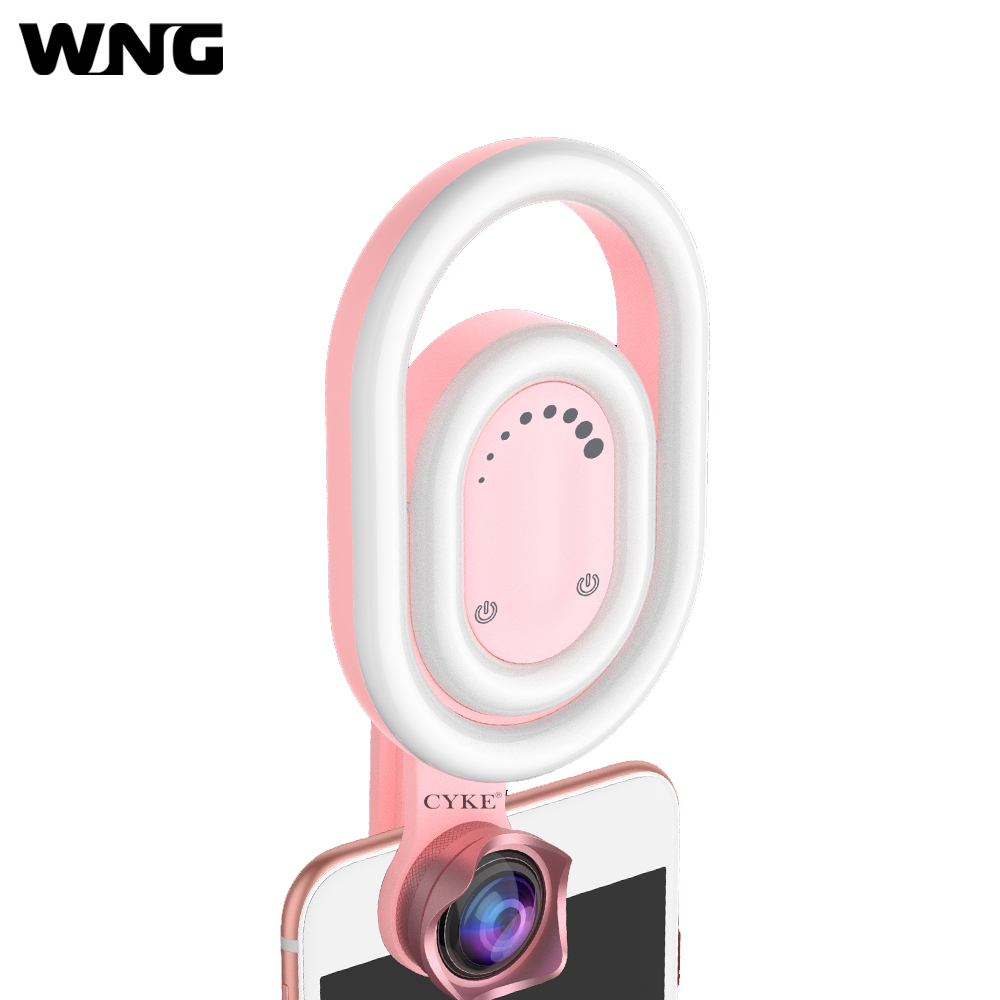 Portable Live Stream Selfie Light Beauty Selfie Fill in LED Ring Light with Wide Angle Lens Clip for iphone Samsung Smartphone