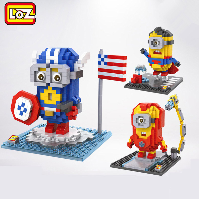 Nanoblock LOZ Mini Blocks Super Heroes Minions Series Captain American Iron Man 3D Diy Models Toys for Children loz mini diamond block world famous architecture financial center swfc shangha china city nanoblock model brick educational toys