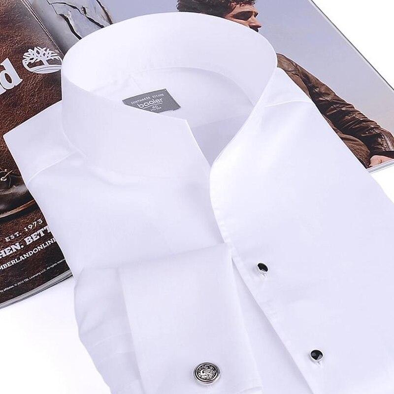 Мужская модная рубашка смокинг, французские запонки для банкета, рубашка с длинными рукавами, классический воротник стойка, 100% хлопок, высо... - 2