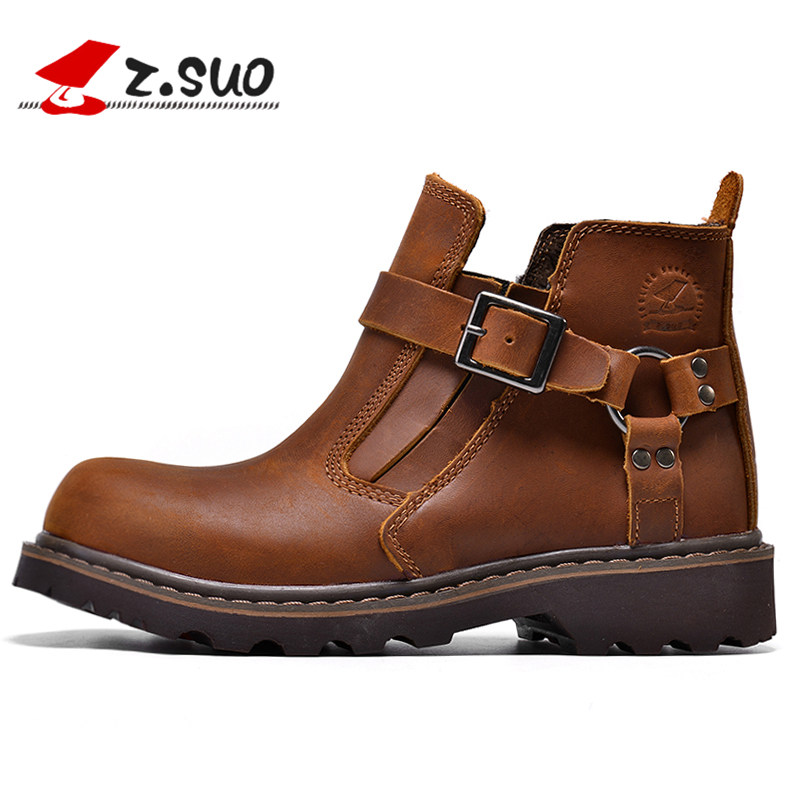 New 2018 Winter Genuine Leather Fashion Ankle Boots For Women Botas Femininas Black Hunter Martin Boots Warm Woman Shoes
