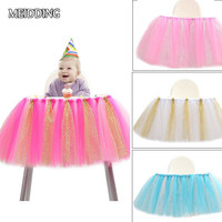 MEIDDING 91 5cm 35cm Baby High Chair Tutu Table Skirt Baby Shower First Birthday Party Tutus