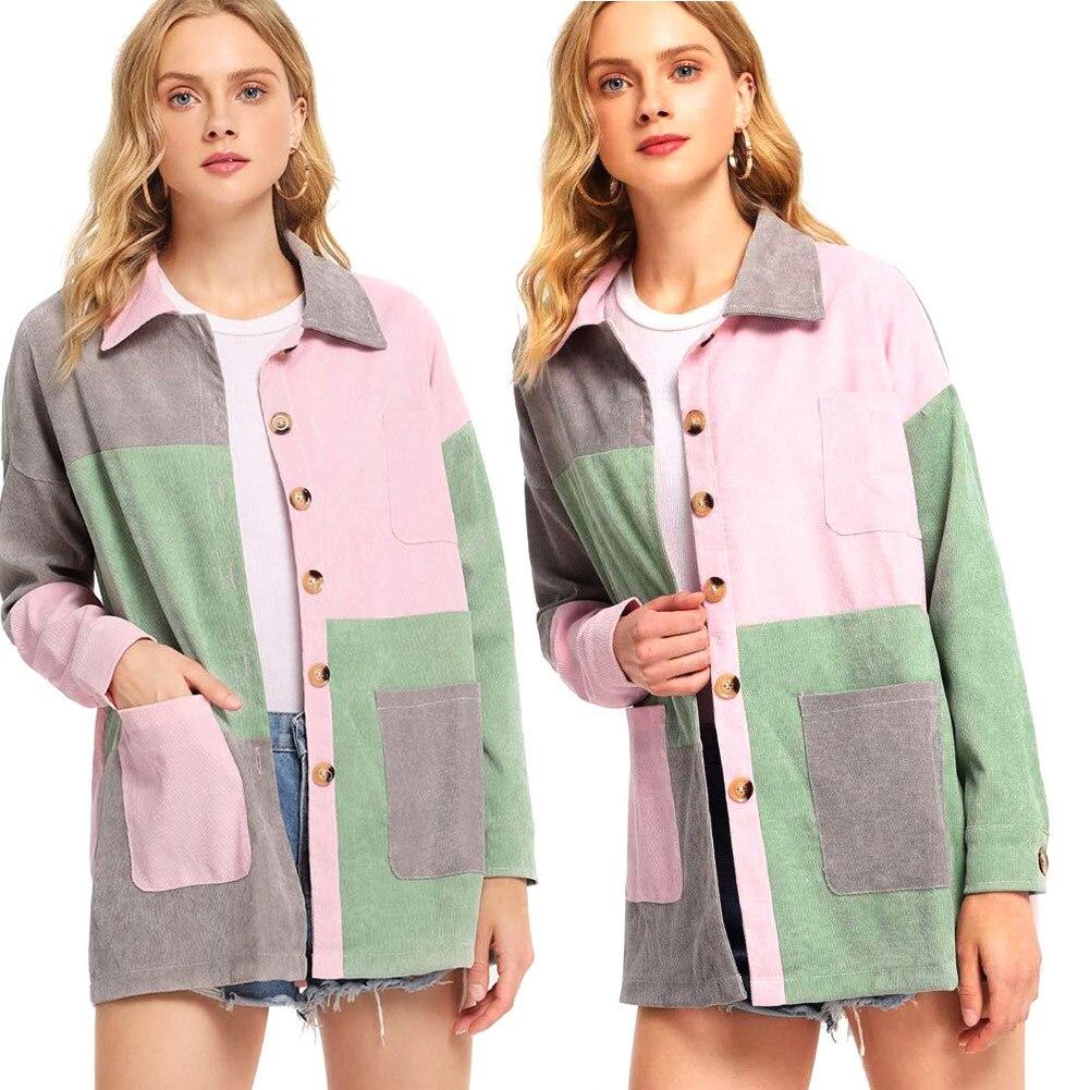 Autumn Women Jacket Corduroy Coat Long Sleeve Plaid Patchwork Pockets Casual Outwear H9