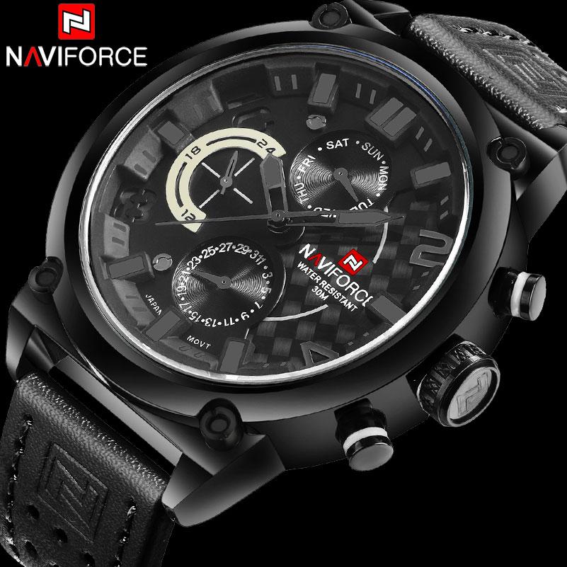 Prix pour Hommes sport montres NAVIFORCE de luxe marque hommes montre à quartz véritable bracelet en cuir chaude mâle calendrier 30 M étanche montres