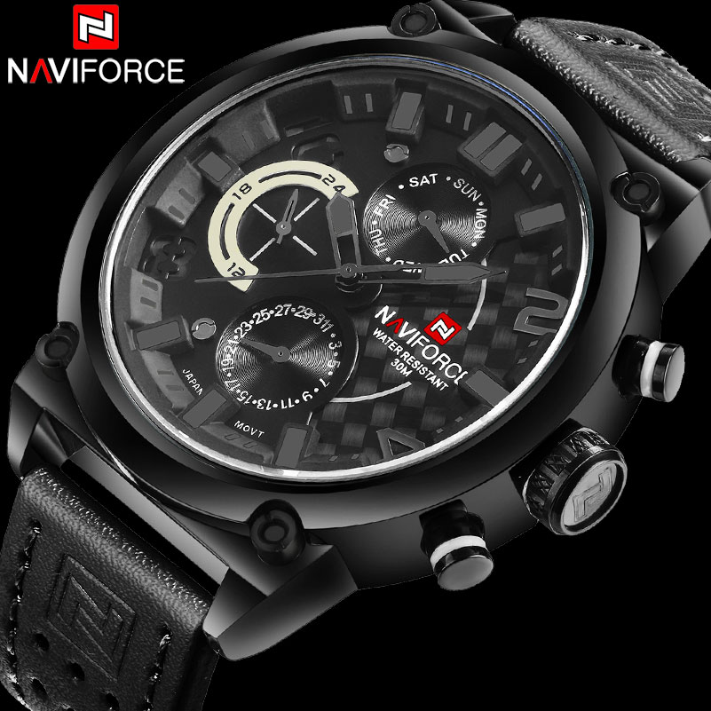 men sport watches NAVIFORCE luxury brand men quartz watch genuine leather strap hot male calender 30M