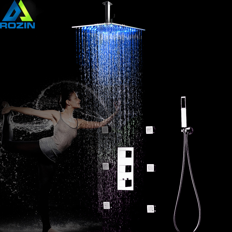 Chrome Thermostatic LED Shower Faucets 12 Rainfall Shower Head Brass Body Massage Spray Jets Shower Mixer Set with Handshower