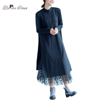 Belinerosa 2017 المرأة الخريف الشتاء ملابس كبيرة الحجم النساء الملابس السوداء شبكة فضفاضة زائد حجم فساتين ماكسي قميص HS000382